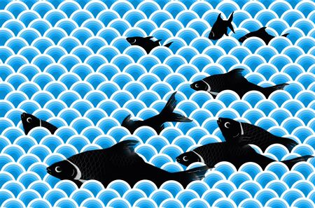 jumping carp: Swimming black carps in the blue water