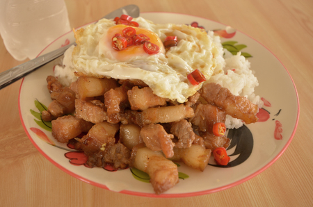 omlet: Rice plate with sweet pork and fried egg