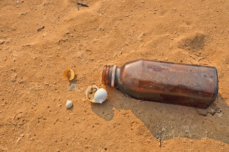 brown bottle: Unused brown bottle with shells
