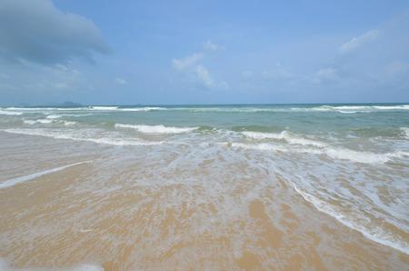 wide  wet: Beautiful white waves under blue sky