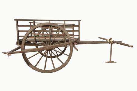 old wood farm wagon: Old conservative wagon Thai style Stock Photo