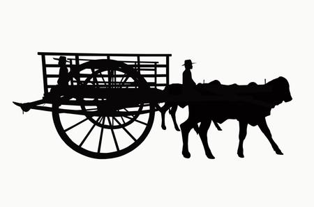 old wood farm wagon: Running wagon shadow on white background