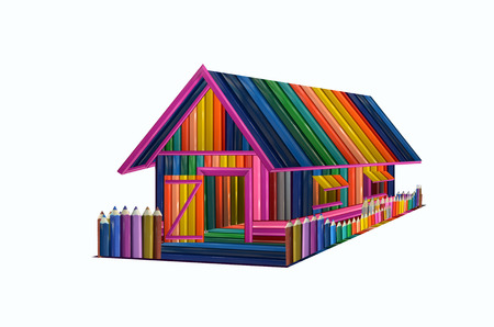 A beautiful pencil house on white background