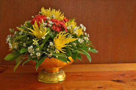 Beautiful flowers on tray with pedestal