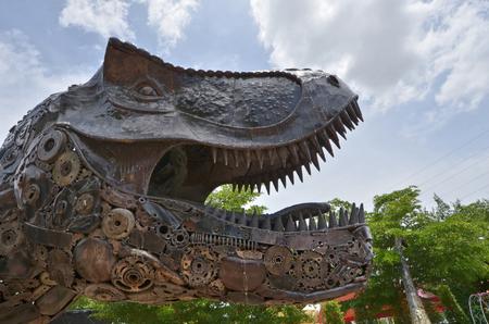 Scary iron T Rex dinosour head close up Stock Photo