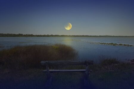 concave: Lonely evening scenery beside the lake
