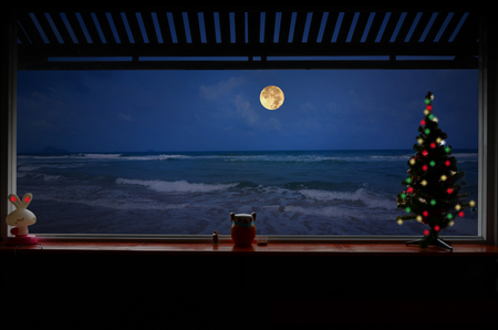 Lonely Christmas night beside the beach
