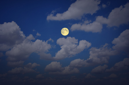 float cotton cloud: Beautiful full moon and white clouds