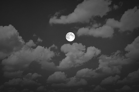 float cotton cloud: Black and white image of full moon night