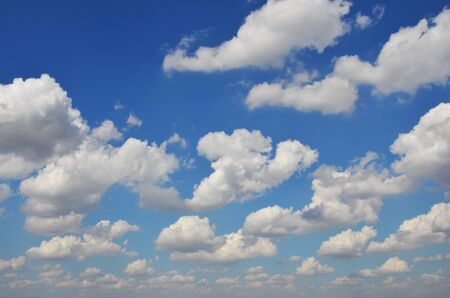 float cotton cloud: White clouds on fresh and clear blue sky Stock Photo