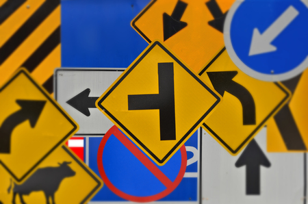 Many kinds of colored traffic sign collection