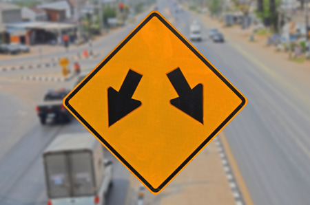 truck driver: Beware traffic island ahead sign