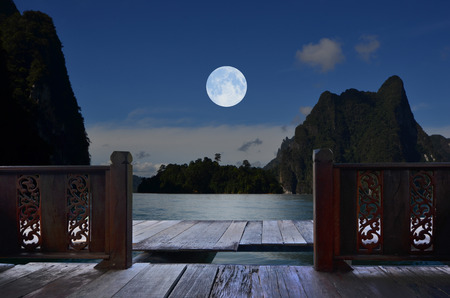 Romantic full moon night in balcony view Reklamní fotografie - 78356771