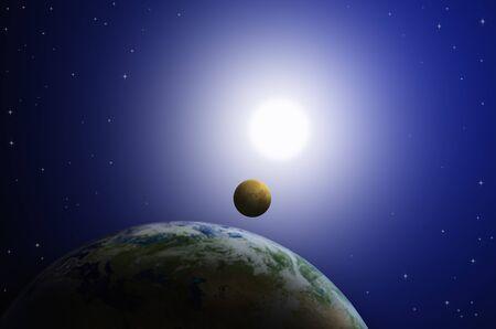 3D illustration image of solar eclipse phenomenon