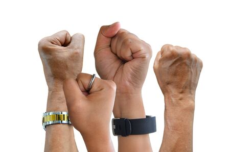 Angry hold fists on white background Stock Photo