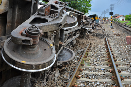 Damaged property of train and rails after train derailed in Thailand