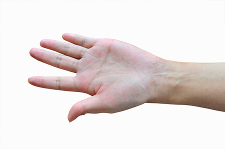 dedo meÑique: Beautiful slender hand on white background