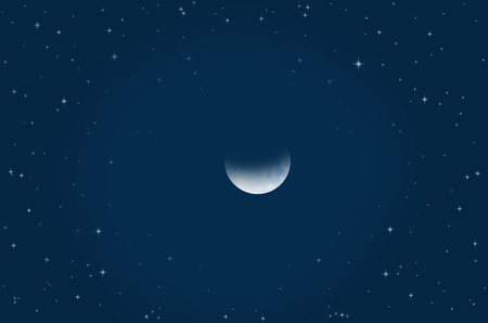 Waning moon and bright stars in crescent night