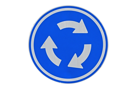 New circle blue roundabout traffic sign on white background