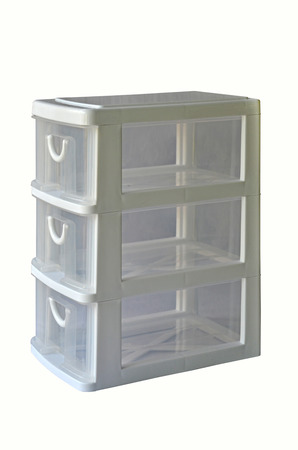 Transparency plastic box with three drawers on white background Imagens
