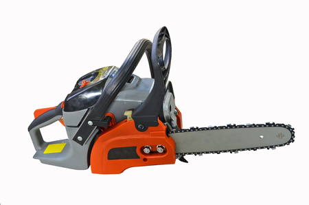Front side of professional chain saw on white background