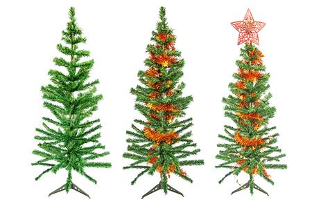 Three Christmas trees on white background