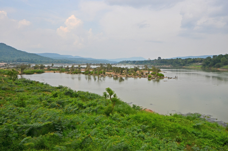 Green tropical forest and wide river with cloudy sky