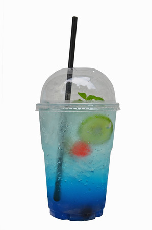 Italian soda with lime drink glass on white background