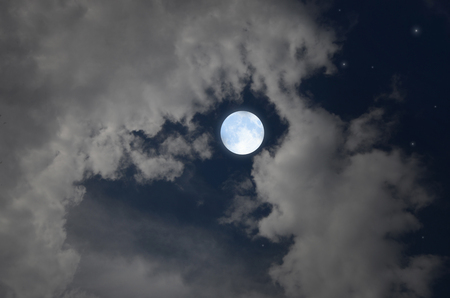 Bright full moon  and white clouds in blue sky