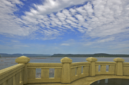 Terrace view point for watching beautiful lake and blue sky