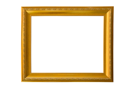 Golden frame with small pattern for image isolated on white Imagens