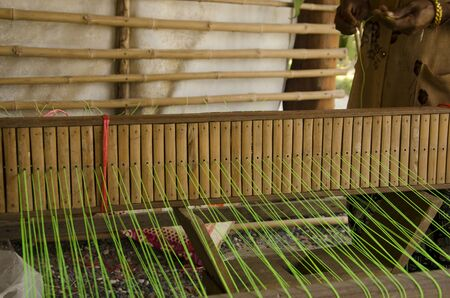 Local bamboo tool for weaving mats Banco de Imagens