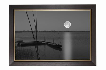 Picture of full moon over the lake Фото со стока