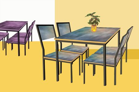Beautiful table and chairs in the room. 3d illustration