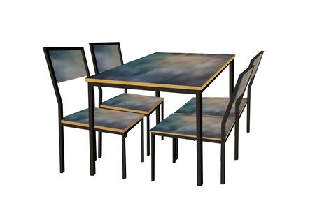Beautiful table and chairs on white background. 3d illustration