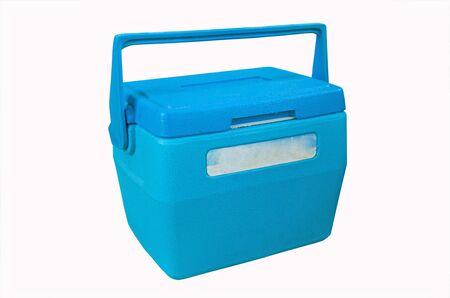 Blue plastic ice bucket on white background Imagens