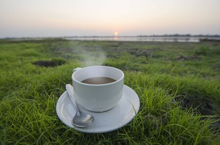 Hot coffee cup on green grass with morning scene
