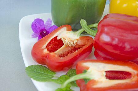 Inside details of sweet pepper after cut Imagens