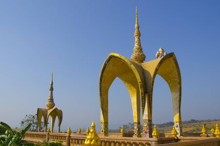 Beautiful golden pavilions in morning light