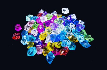 Beautiful colored glass marble heap Imagens