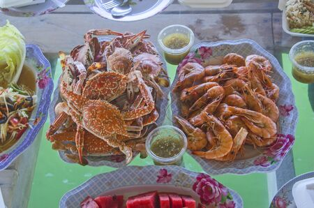 Yummy boiled crab and prawn dishes