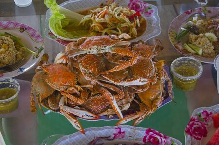 Yummy menu is boiled blue swimming crab dish