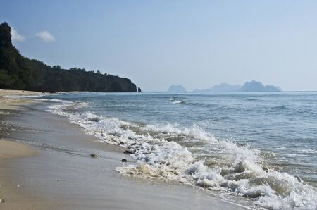 White waves and beautiful beach of Thung sang bay in Thailand