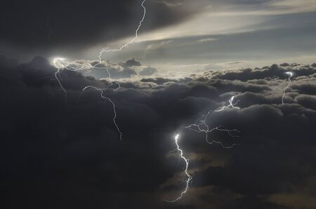 Strong lightning in rainy clouds Banco de Imagens