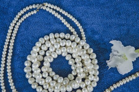 Beautiful pearl necklaces and white flower Banco de Imagens
