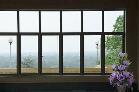 Nature view in glass windows of deluxe building Banco de Imagens