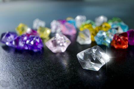 Beautiful sparkling of raw diamonds in light