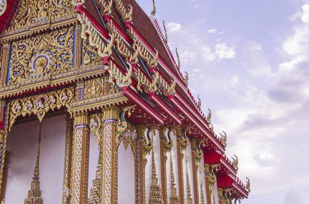 Beautiful Thai pattern on white temple in Thailand