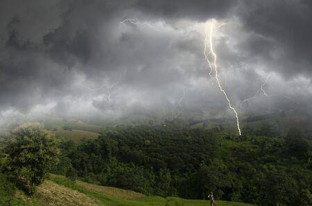 Lightning storm over the mountains in monsoon season Imagens - 134478212