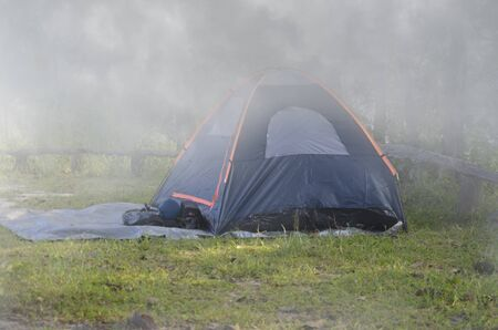Dark blue tent for sleeping in thick morning fog Imagens